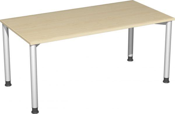 Schreibtisch, höhenverstellbar, 160x80cm, Ahorn / Silber