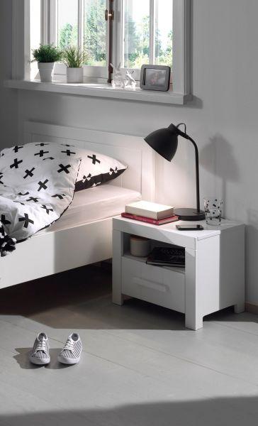 Erik Nachtkonsole mit 1 Schublade, Weiß