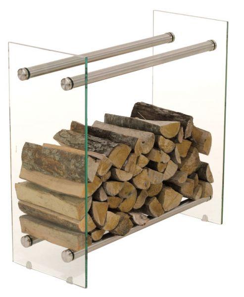 Kaminholzständer Dacio 35x80x100, klarglas