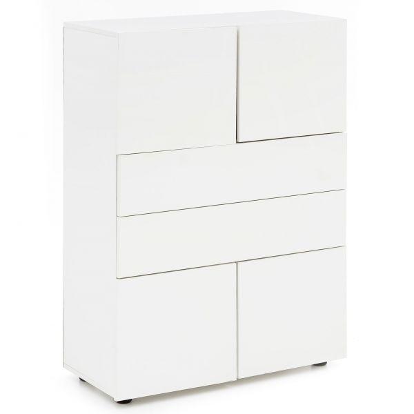 Highboard Holz Modern Sideboard Hochglanz Weiß 76x109x35 cm
