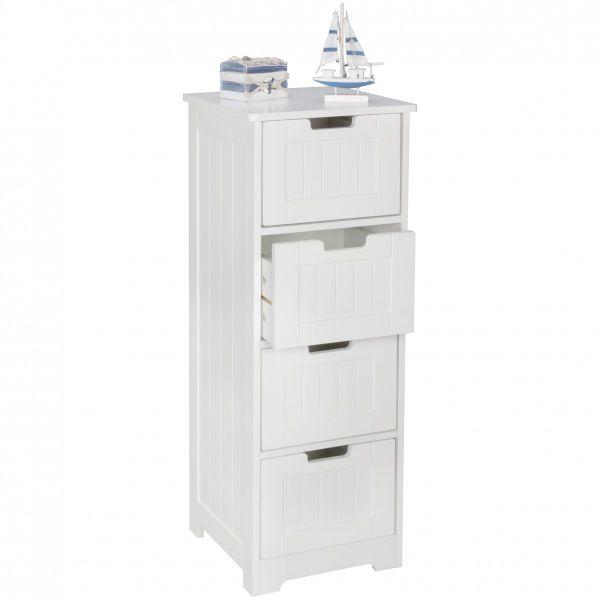 Design Badschrank LUIS Landhaus-Stil MDF-Holz, 30x83x30cm, weiß