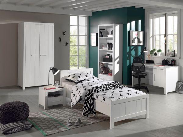 Set Erik best. aus: Einzelbett, Nachtkonsole, Kleiderschrank 2-trg., Schreibtisch, Regal, Weiß