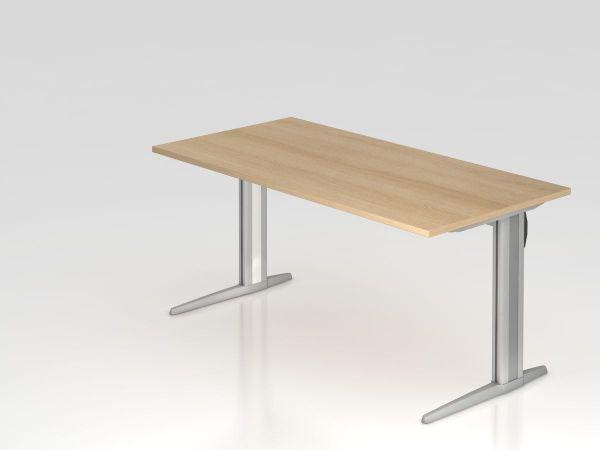 Schreibtisch C-Fuß 160x80cm Eiche Gestellfarbe: Silber