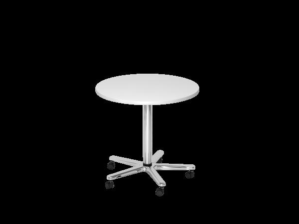 Säulenhubtisch rund, 80cm, Weiß / Chrom