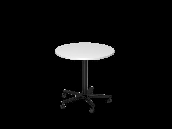 Säulenhubtisch rund, 80cm, Weiß / Schwarz