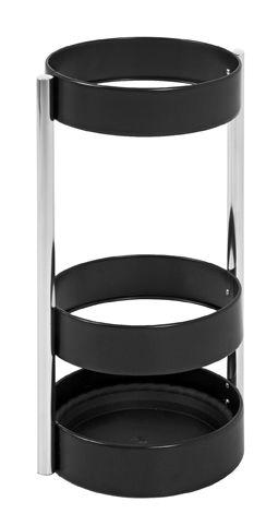 Schirmständer, schwarz - Chrom, Metall, Kunststoff, 51cm