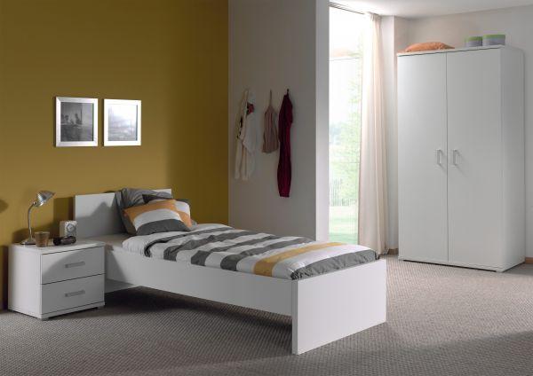 Set Milan best. aus Einzelbett 90x200, Nachtkonsole, Kleiderschrank 2-trg., Weiß