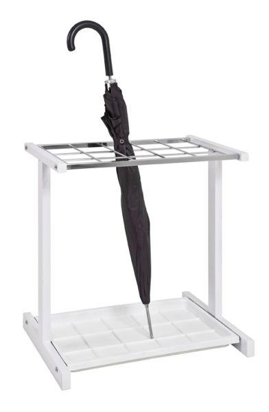Schirmständer, weiß - Chrom, Metall, Kunststoff, 48x35x51cm