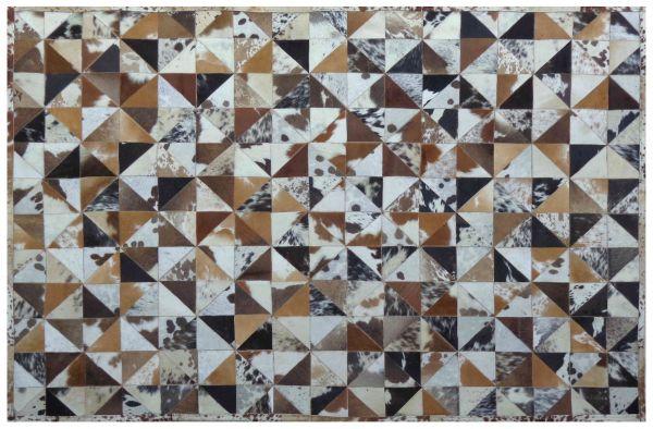 Teppich 200x300 cm, gefärbtes Kuhfell, weiß/braun