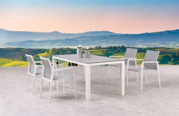 5-tlg. Dining Gruppe Sitzgruppe Rhodos + Houston weiß / Keramik