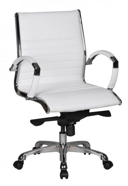SALZBURG Bürostuhl, Schreibtischstuhl, Chefsessel Echtleder Weiß