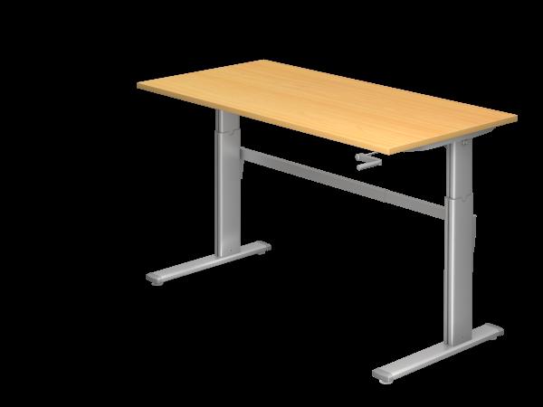 Sitz-Steh-Schreibtisch Kurbel XK16 160x80cm Buche Gestellfarbe: Silber