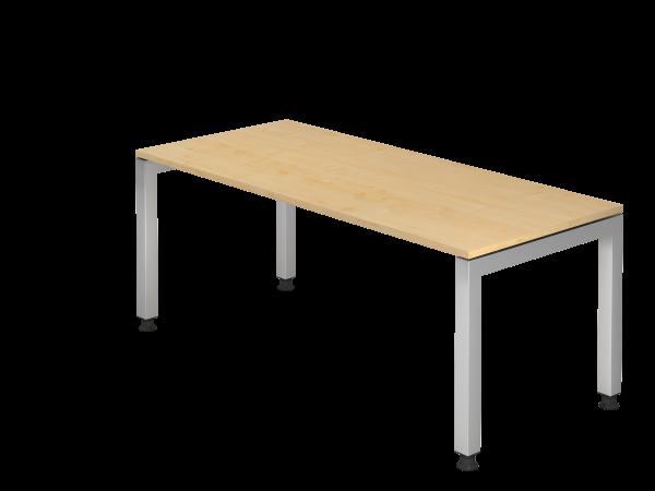 Schreibtisch JS19 U-Fuß eckig 180x80cm Ahorn Gestellfarbe: Silber