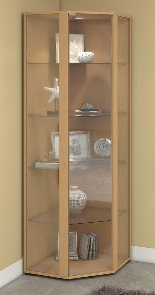Eckvitrine Venedig - mit LED-Beleuchtung - Buche | Wohnzimmer > Vitrinen > Eckvitrinen | VCM-Möbel