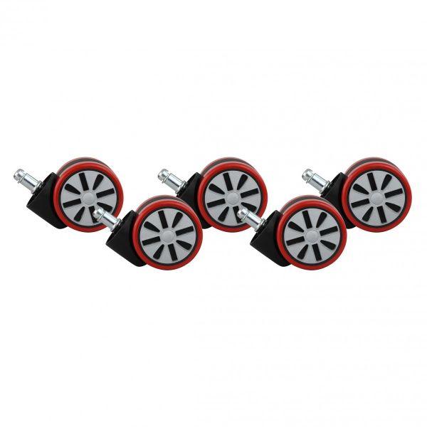 5er Set Rollen für Bürostuhl Rot Stift 11mm / Durchmesser 60mm