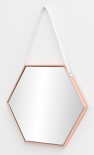 Wandspiegel Spiegel mit Rahmen Flurspiegel Sechseckig Kupfer 48x57x4 cm