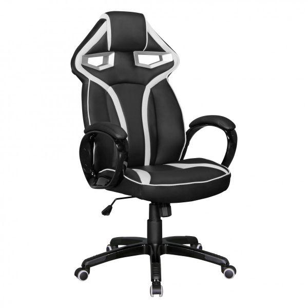 GameStar Bürostuhl Schreibtischstuhl Leder-Optik Schwarz Weiß