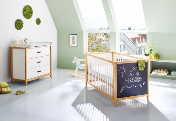 Kinderzimmer Sparset 'Calimero' breit mit Tafellack, weiß / klar