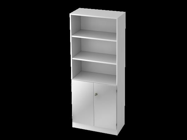 Regal 6770 5 OH, 2 OH Türen, Sockelblende SG Weiß / Silber