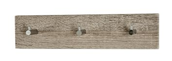 Garderobenleiste, Eiche trüffel - Chrom, Stahl, MDF, 34x5x8cm