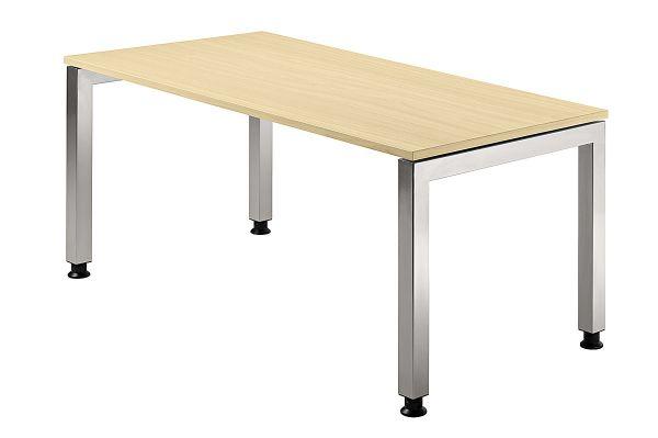 Schreibtisch JS16 U-Fuß / 4-Fuß eckig 160x80cm Ahorn Gestellfarbe: Silber