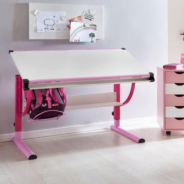 Kinderschreibtisch MORITZ, Holz, 120x60cm, rosa / weiß