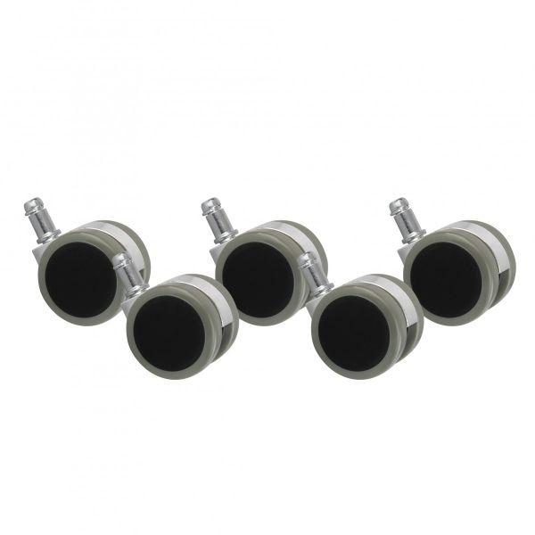 5er Set Rollen für Bürostuhl Grau Stift 11mm/Durchmesser 50mm