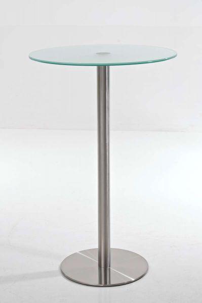 Glastisch Ben 110 Edelstahl, milchglas