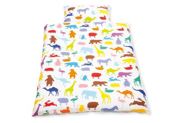 Bettwäsche für Kinderbetten 'Happy Zoo', 2-tlg., weiß / bunt