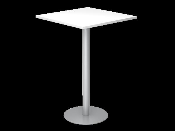 Stehtisch STH08 80x80cm, Weiß / Silber