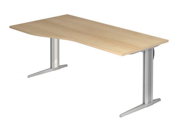 Schreibtisch XS18 C-Fuß 180x100 / 80cm Eiche Gestellfarbe: Silber