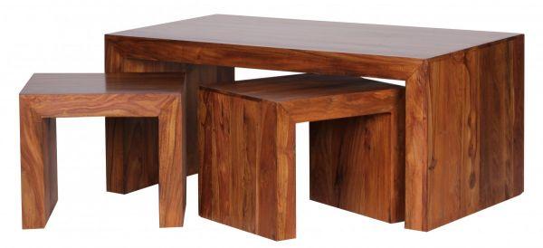 Sheesham Wohnzimmer-Tisch, Couchtisch mit Hocker, 110cm breit, Massiv-Holz, Dunkel-Braun