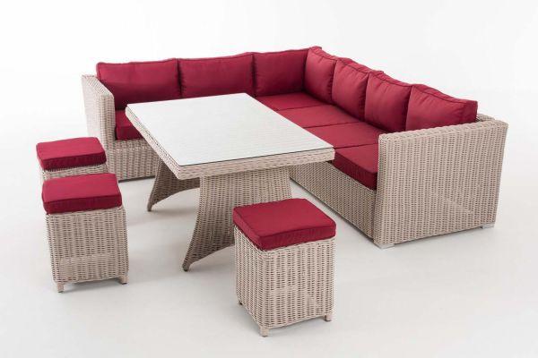 Sitzgruppe Sorano 5mm Rubinrot, perlweiß