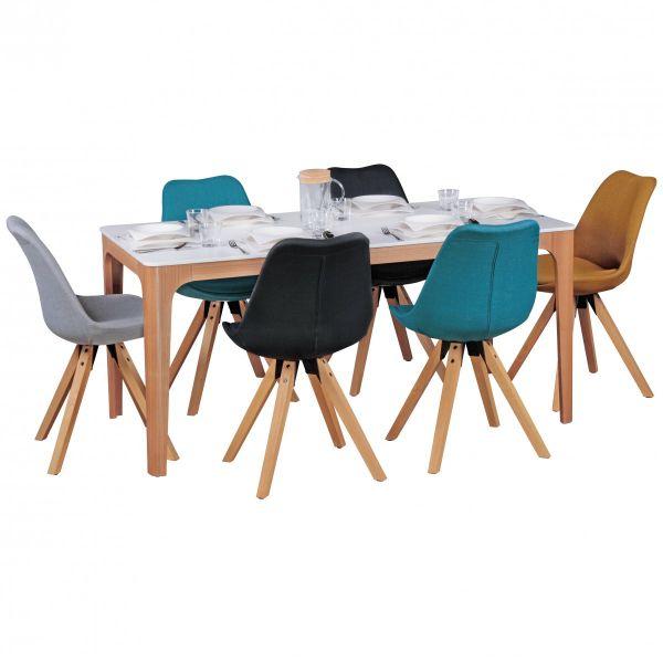 Esszimmertisch NORA 160 x 76 x 80 cm MDF Holz Esstisch mit Tischplatte in weiß