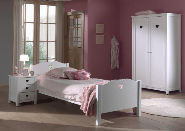 Set Amori best. aus: Einzelbett, Nachtkonsole und Kleiderschrank 2-trg., Weiß
