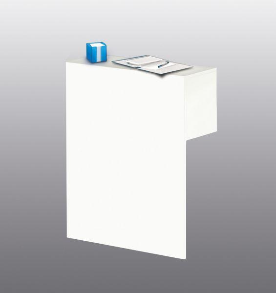 Sichtschutz-Aufsatz mit Thekenfunktion Form4, für Tischbreite 160-180 cm, Weiß