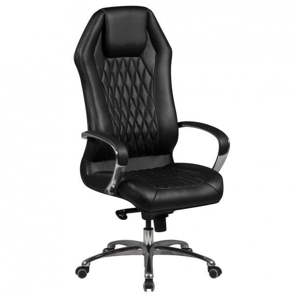 MONTEREY Schreibtischstuhl, Chefsessel hohe Rückenlehne, Echtleder Schwarz