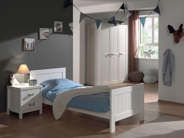 Set Lewis best. aus: Einzelbett, Nachtkonsole und Kleiderschrank 3-trg., Weiß