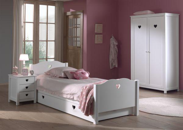 Set Amori best. aus: Einzelbett, Bettschublade, Nachtkonsole und Kleiderschrank 2-trg., Weiß