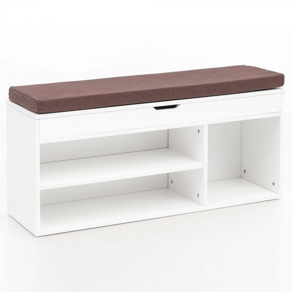 Schuhbank WL5.345 mit Sitzfläche Garderoben-Bank Holz 104x51x32 cm Weiß