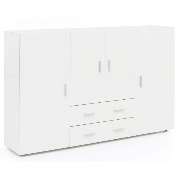 Highboard Design Holz Anrichte Weiß Hochglanz, 165x108x35 cm