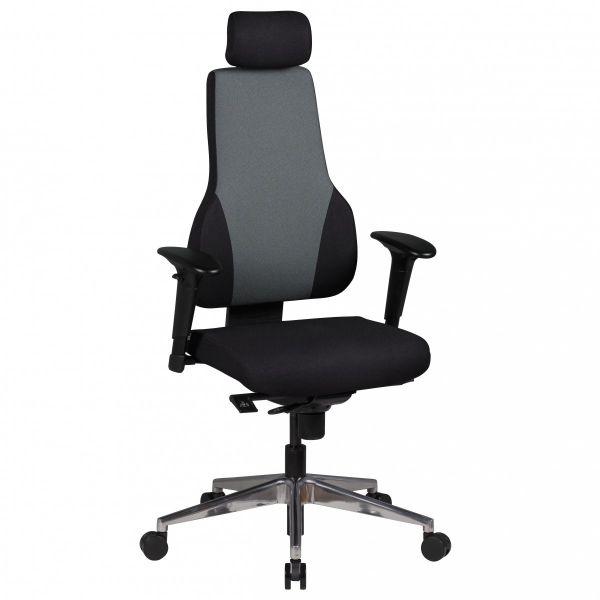 QUENTIN Bürostuhl, Schreibtischstuhl mit Kopfstütze, Schwarz Grau