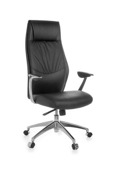 OXFORD Bürostuhl, Schreibtischstuhl, Chefsessel, Synchronmechanik, Echtleder Schwarz