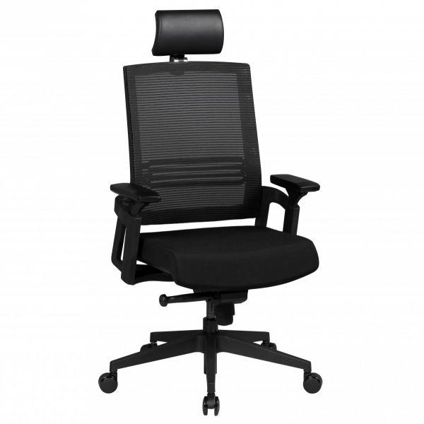 APOLLO A1 Bürostuhl Schreibtischstuhl mit Kopfstütze, Netzbezug Schwarz