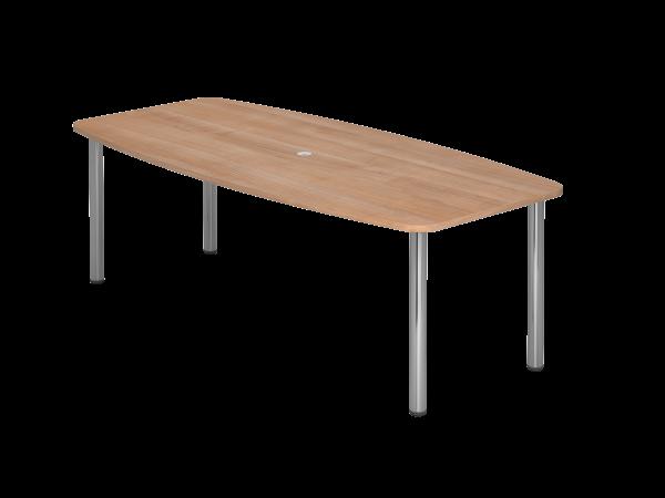 Konferenztisch KT22C 220x105cm Nussbaum 4-Fuß Gestellfarbe: Chrom