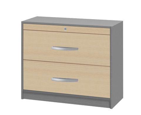 Hängeregistraturschrank doppelbahnig Tec-Art, 100x42x82cm, Buche / Silber
