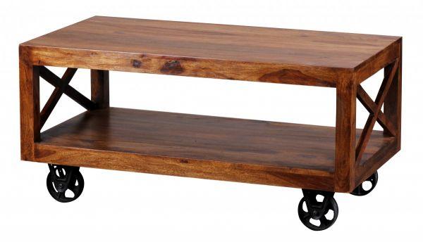 Sheesham Couchtisch, Wohnzimmer-Tisch, Massiv-Holz, Dunkel-Braun, 110 cm breit