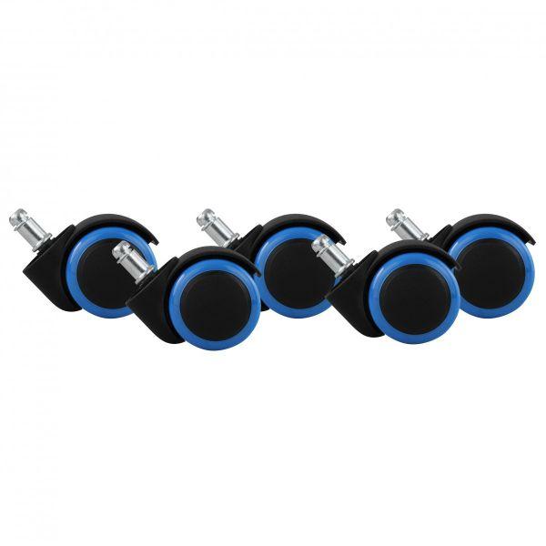 5er Set Rollen für Bürostuhl Blau / Schwarz Hartbodenrollen 11mm, Durchmesser 50mm