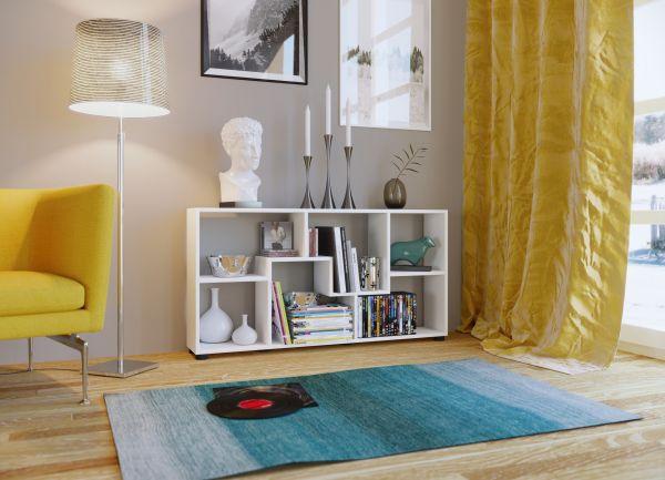 """Regal """"PISA B"""" 123x60x20cm, Horizonal, 6 Fächer, Weiß, Melamin beschichtet"""