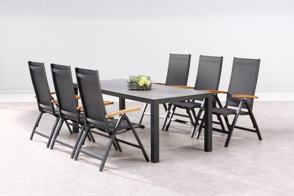 7-tlg. Dining Gruppe Sitzgruppe Cavalese + Houston anthrazit / Teak